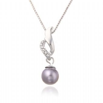 Grey Pearl Necklace with Crystal Accents